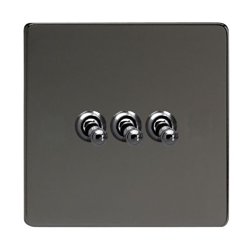 Varilight XDIT3S Screwless Iridium Black 3 Gang 10A 1 or 2 Way Toggle Light Switch